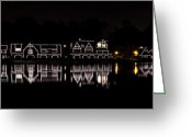 Lit Greeting Cards - Boathouse Row panorama - Philadelphia Greeting Card by Brendan Reals