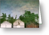 Trippy Greeting Cards - Boathouses with Sky and Trees Greeting Card by Michelle Calkins