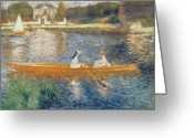 Oil On Canvas Painting Greeting Cards - Boating on the Seine Greeting Card by Pierre Auguste Renoir