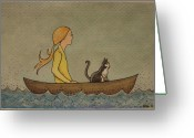 Blonde Girl Greeting Cards - Boating Greeting Card by Ramey Guerra