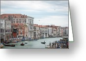 Moored Greeting Cards - Boats And Gondolas In Grand Canal Greeting Card by AlexandraR