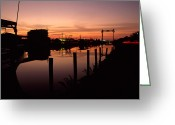 Bays Greeting Cards - Boats And Houses At Sunset Greeting Card by Medford Taylor
