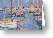 1871 Greeting Cards - Boats at Royan Greeting Card by Samuel John Peploe