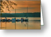 Golden Framed Prints Greeting Cards - Boats At Sunrise Greeting Card by Steven Ainsworth
