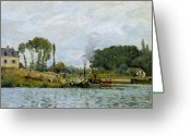 Bougival Greeting Cards - Boats at the lock at Bougival Greeting Card by Alfred Sisley