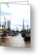 Old Town Painting Greeting Cards - Boats in the old harbor Greeting Card by Stefan Kuhn