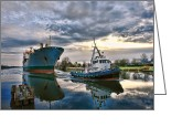 Cargo Greeting Cards - Boats on a Canal Greeting Card by Olivier Le Queinec
