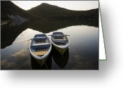 Paddles Greeting Cards - Boats On Lake-filled Katanuma Crater Greeting Card by Michael S. Yamashita