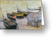 On The Beach Greeting Cards - Boats on the Beach Greeting Card by Claude Monet