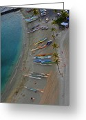 Waikiki Beach Greeting Cards - Boats on the Beach Greeting Card by Elizabeth Hoskinson