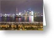 The Bund Greeting Cards - Boats On The Huangpu River And A Bright Skyline Greeting Card by Andrew Rowat