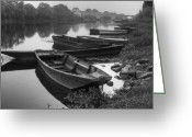 Foggy Morning Greeting Cards - Boats on the Vienne Greeting Card by Debra and Dave Vanderlaan