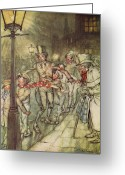 Rackham Greeting Cards - Bob Cratchit went down a slide on Cornhill Greeting Card by Arthur Rackham