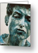 Icon  Painting Greeting Cards - Bob Dylan Greeting Card by Paul Lovering