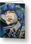 Singer Painting Greeting Cards - Bob Dylan Tangeled up in blue Greeting Card by Joshua Morton