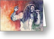 Reggae Greeting Cards - Bob Marley 01 Greeting Card by Yuriy  Shevchuk