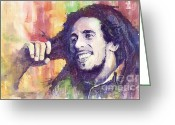 Celebrities Greeting Cards - Bob Marley 02 Greeting Card by Yuriy  Shevchuk