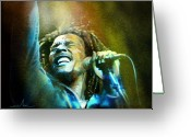 Reggae Greeting Cards - Bob Marley 06 Greeting Card by Miki De Goodaboom