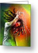 Reggae Greeting Cards - Bob Marley 07 Greeting Card by Miki De Goodaboom