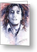 Celebrities Greeting Cards - Bob Marley 3 Greeting Card by Yuriy  Shevchuk