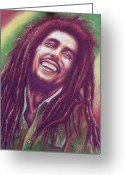 Musicians Pastels Greeting Cards - Bob Marley Greeting Card by Anastasis  Anastasi