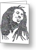 Black White Greeting Cards - Bob Marley Black and White Word Portrait Greeting Card by Smock Art