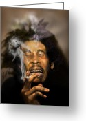 Reggae Greeting Cards - Bob Marley-Burning Lights 3 Greeting Card by Reggie Duffie