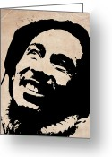 Reggae Greeting Cards - Bob Marley Grey and Black Greeting Card by Irina  March