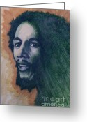 Www.artworkxofmann.com Mixed Media Greeting Cards - Bob Marley Greeting Card by James Flynn