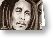 Photorealism Greeting Cards - Bob Marley Greeting Card by Michael Mestas