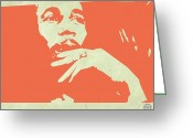 Reggae Greeting Cards - Bob Marley Orange Greeting Card by Irina  March