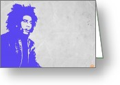 Reggae Greeting Cards - Bob Marley Purple 3 Greeting Card by Irina  March
