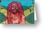 Singer Songwriter Greeting Cards - Bob Marley Greeting Card by Suzanne Gee