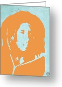 Reggae Greeting Cards - Bob Marley Yellow 2 Greeting Card by Irina  March