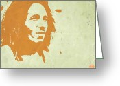 Reggae Greeting Cards - Bob Marley Yellow 3 Greeting Card by Irina  March