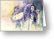 Reggae Greeting Cards - Bob Marley Greeting Card by Yuriy  Shevchuk
