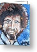 Van Dyke Brown Painting Greeting Cards - Bob Ross  Greeting Card by Jon Baldwin  Art