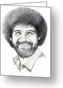 Pencil Greeting Cards - Bob Ross Greeting Card by Murphy Elliott
