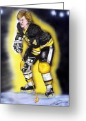 Hockey Painting Greeting Cards - Bobby Orr Greeting Card by Dave Olsen