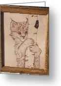 Framed Art Pyrography Greeting Cards - Bobcat Kitten Curiosity Greeting Card by Angel Abbs-Portice