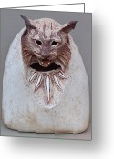 Animal Ceramics Greeting Cards - Bobcat Stone Greeting Card by Gaylon Dingler