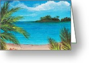 Beaches Drawings Greeting Cards - Boca Chica Beach Greeting Card by Anastasiya Malakhova
