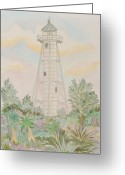N Taylor Greeting Cards - Boca Grande Lighthouse Greeting Card by N Taylor