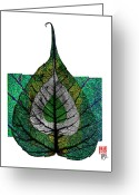 Nirvana Mixed Media Greeting Cards - Bodhi Leaf Greeting Card by Peter Cutler