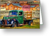 Gold Rush Greeting Cards - Bodie Ghost Town Green Truck Greeting Card by Scott McGuire