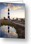 Reflected Greeting Cards - Bodie Island Lighthouse - Cape Hatteras Outer Banks NC Greeting Card by Dave Allen