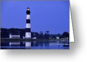 Lighthouse Tower Greeting Cards - Bodie Island Lighthouse at Dusk - FS000607 Greeting Card by Daniel Dempster