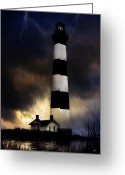 Lightening Storm Greeting Cards - Bodie LIghthouse Greeting Card by Ron Jones