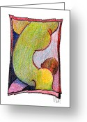 Gymnastics Drawings Greeting Cards - Body 31 Greeting Card by Dan Daulby