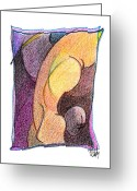 Aboriginal Art Drawings Greeting Cards - Body 41 Greeting Card by Dan Daulby